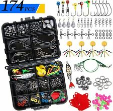 174Pcs Fishing Accessories Tackle Box Kit Worm Jig Hooks Sinkers Swivels Beads