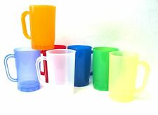 24 1 Pint Plastic Beer Mugs  Mix of Translucent Colors, Mfg USA, Dishwasher Safe