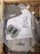 Comforter Taggie Sleepsuit Babygrow Hat Booties Grey Blue Newborn