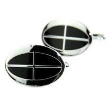 Men's Jewelry Shirt Cuff Link Cufflinks Gift Box Silver Tone Black Checked CW209