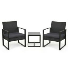 More details for 3pc black rattan garden furniture bistro set chair table patio outdoor wicker