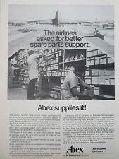 3/1977 PUB ABEX AEROSPACE AIRLINES AIRLINER SPARE PARTS SUPPORT ORIGINAL AD