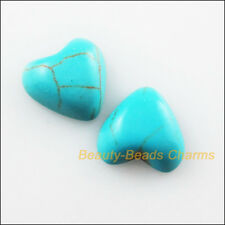 20Pcs Blue Turquoise Charms Faceted Heart Rhinestone FlatBack 12mm