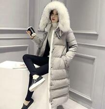 womens winter warm white fur duck down hoody thick jacket coat outwear trench