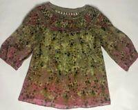 Sundance Catalog Size XS Floral Colorful 100% Silk Lining Blouse
