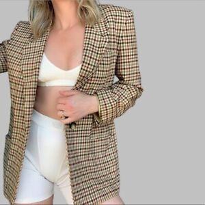 Vintage Cream Plaid Blazer Jacket Single Button