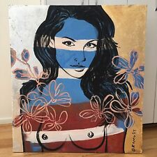 """David Bromley Original """"Nicole"""" Gold And Silver Leaf Painting On Canvas 90x100cm"""