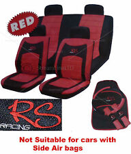 15 Piece Red & Black RS Racing Car Seat Belt Steering Wheel Covers Cover Mat Set