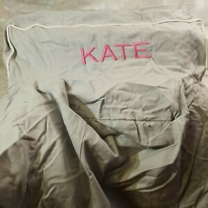 """ANYWHERE CHAIR COVER PB KIDS GIRL GREY PERSONALIZED """"KATE"""" EMBROIDERED COTTON"""