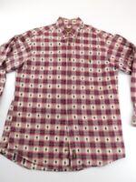 Woolrich Mens Flannel Button Down Shirt Red Beige Southwest Plaid Long Sleeve M