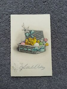 1928 German Easter Postcard, Chicks in a Basket with Flowers