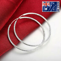 Hoop Earrings 925 Sterling Silver Filled Frosted Large Round Drop Dangle Fashion