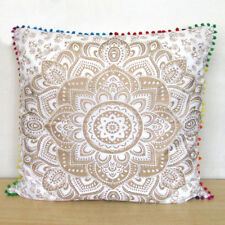 "Large 24X24"" Sofa Pillow Cover Decorative Floral White Gold Cushion Covers Throw"