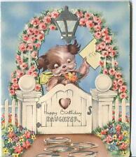 Vintage Garden Rose Arbor Trellis Spaniel Puppy Dog Daughter Birthday Card Print