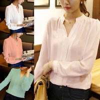 Women Chiffon Blouse Long Sleeve Loose  V Neck Casual Lady Office T-Shirts Tops