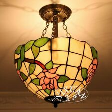 Tiffany Style Lotus Pattern Flush Mount Stainded Glass E27 Bulb Ceiling Lamp