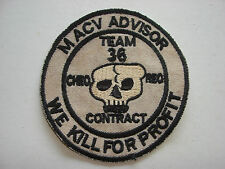 MACV Advisor Team 36 CHEO REO Contract WE KILL FOR PROFIT Vietnam War Patch
