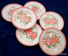 Mayfair & Jackson Salad Luncheon Plate x 6 Poinsettia Pattern Christmas 7in