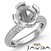Pave Diamond Engagement Half Eternity Ring 1.5Ct 14k White Gold Round Semi Mount