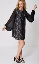 Womens Formal Lace Black Long Bell Sheer Sleeve Shift Crew Neck 60-70's Dress
