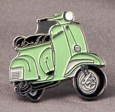 Metal Enamel Pin Badge Brooch Vespa Scooter Motorbike Bike Biker Rider Light Grn
