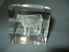 """Glass Cube Crystal Hologram 3D Paperweight with Cow 2 3/8"""" Square"""