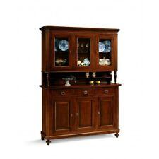Credenza 3 ante napoletana arte povera in legno massello, cristalliera, mobile N