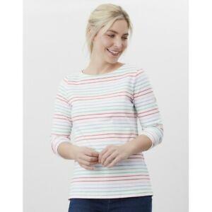 Joules Harbour Long Sleeve Jersey Top - Cream Multi Stripe - 10 12 14 16 - BNWT