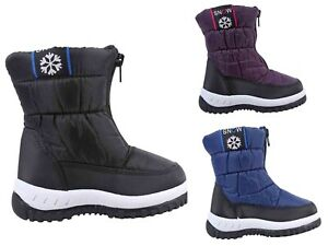 3 Color Water Resistant Round Front Unisex Girls Boys Toddlers Kids Snow Boots