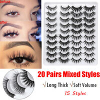 20 Pairs/pack False Eyelashes 3D Faux Mink Thick Wispies Fluffies Lash Extension