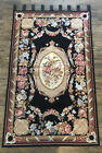 """Large needlepoint Floral Rug Wall Hang Tapestry 63""""x39"""" Rose Pink Blue Black Tan"""