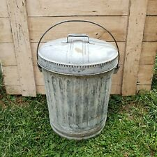 Early Vintage Fluted Galvanized Metal Trash Garbage Waste Can Pail W/ Handle