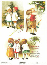 Rice Paper for Decoupage Scrapbooking, Christmas Vintage Children A4 ITD R773