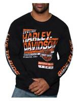 Harley-Davidson Men's Powerhouse H-D Crew-Neck Long Sleeve T-Shirt, Black