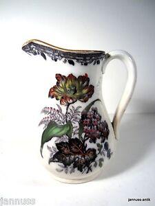Rarität Krug P.W.& Co Inlip um 1840 florales Dekor USA handbemalt STONEWARE