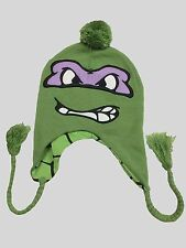 NEW TNMT Teenage Mutant Ninja Turtles DONATELLO KNIT laplander BEANIE w/pom