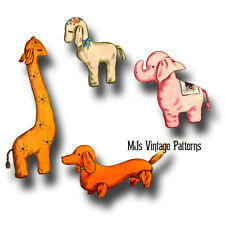 Vintage 1940s Pattern ~ 4 Stuffed Toy Animals ~ Giraffe, Elephant, Lamb, Dog