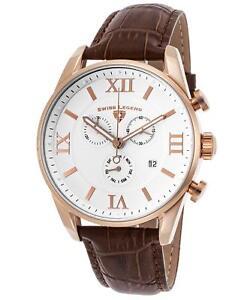 Swiss Legend 22011-RG-02-BRN Brown Leather Strap White Dial Men's Quartz Watch