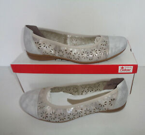 Rieker Ladies New Womens White Silver RRP £55 Moccasins Loafers Shoes Size 4 5 6