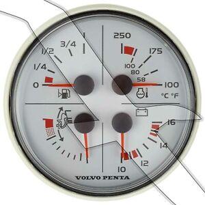 Volvo Penta EVC 4 Function White Instrument Gauge Trim Volt Fuel Temp 3885215