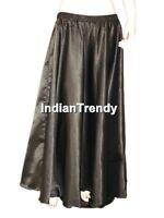 Green - Satin Skirt Belly Dance Costume Gypsy Tribal Dress 4.5 Yard Half Circle