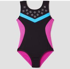 Danskin Freestyle Gymnastics Dance Girls Leotard Sz XS 4-5 Years Pink Black