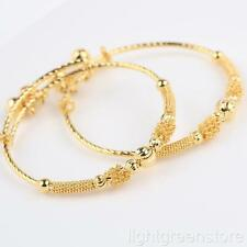 2pcs Lovely 24k Yellow Gold Filled Baby's Bangle Bracelet Jewelry With Bells
