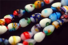50Pcs Teardrop Glass Colorized Millefiori Beads Spacer Finding 9.5x12mm Charms