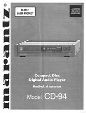 Marantz CD-94 CD Player Owners Instruction Manual