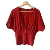 LAURA ASHLEY Red cardigan Size 12  | Smart Casual Warm wool blend