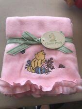 Disney Classic Pooh w Piglet Butterfly Pink Fleece Baby Girl Blanket