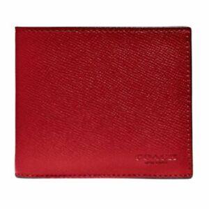 Coach Men's 3-In-1 Crossgrain Leather ID Billfold Red Large Wallet #25605