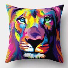 "Multicoloured Lion Design Cushion Cover 17"" X 17"" Home Sofa Decor"