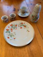 Avon Strawberry Set 22K Gold Trim Plate-Tea Cup & Saucer-Napkin Rings- Shaker